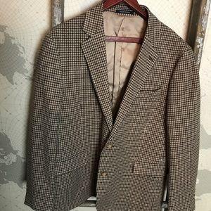 Lands End Houndstooth 43R wool blend blazer jacket